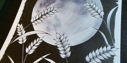 drawing of wheat and moon