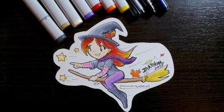 red haired witch riding a broom